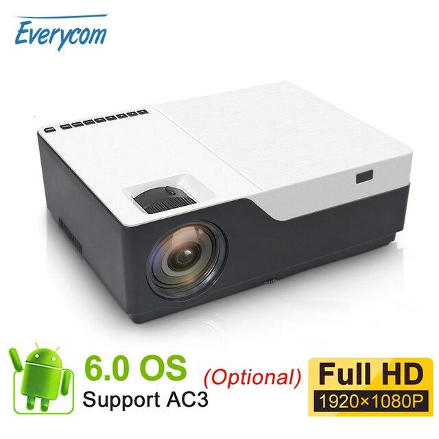 Everycom m18 nativo 1920x1080 real completo hd projetor casa multimídia vídeo game projetor beamer (opcional android wifi ac3)