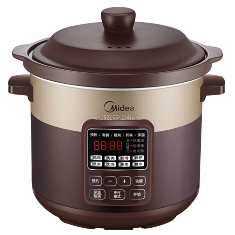 220V Electric Stew Pot Of Porridge With Automatic Simmering Ceramic Purple Color Electric Casserole Stew Household Big Saucepan