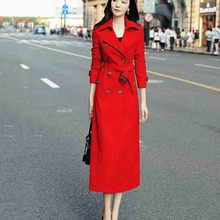 Women Trench Coat Spring Autumn Fashion Long Women Trench Coat 2020 New Solid color Casual Over-the-knee Women Trench Coat JK63 cheap BHIGJYT Full Broadcloth Office Lady Polyester Acetate Acrylic Button Pockets Ages 18-35 Years Old Turn-down Collar Double Breasted