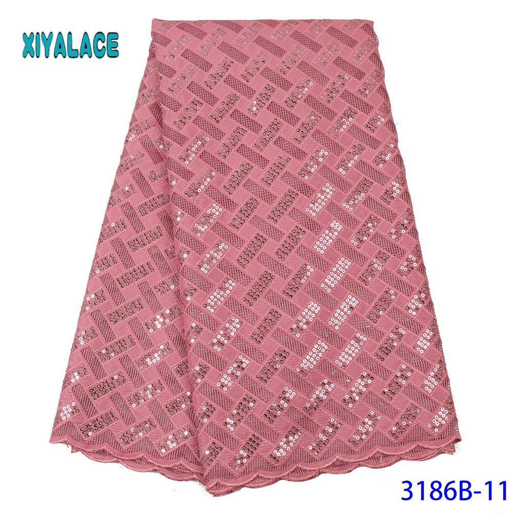 African Lace Fabric Luxury 2020 High Quality French Organza Lace Fabric New Arrival Sequins Lace Fabrics For Wedding YA3186B-11