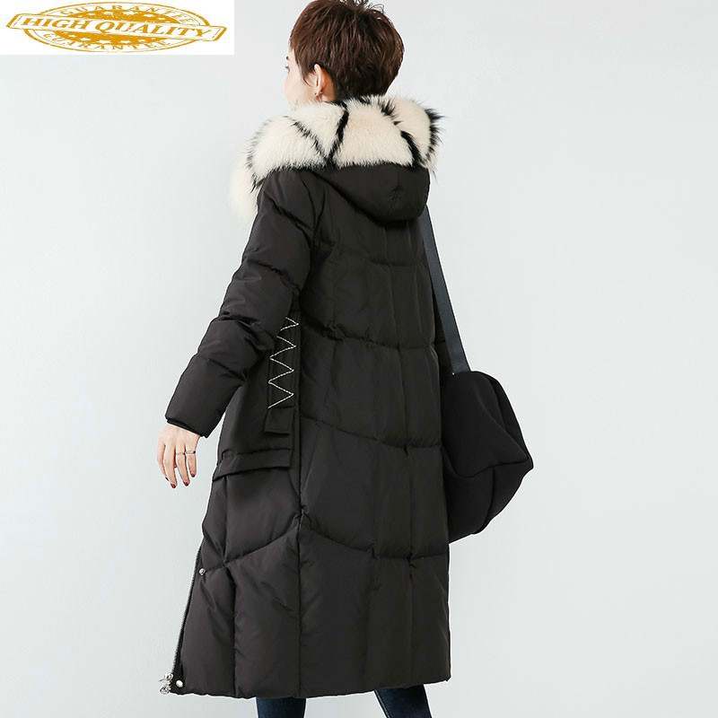 Women's Winter Down Jacket Long White Duck Down Coat Big Fox Fur Collar Warm Korean Puffer Jacket 2020 WF1Y8020Y KJ3681