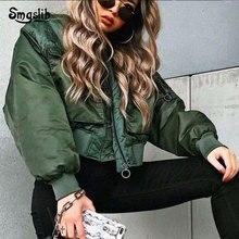 2019 new women army green streetwear jackets fashion ladies short coat feminine oversize girls street-wear loose outwear chic