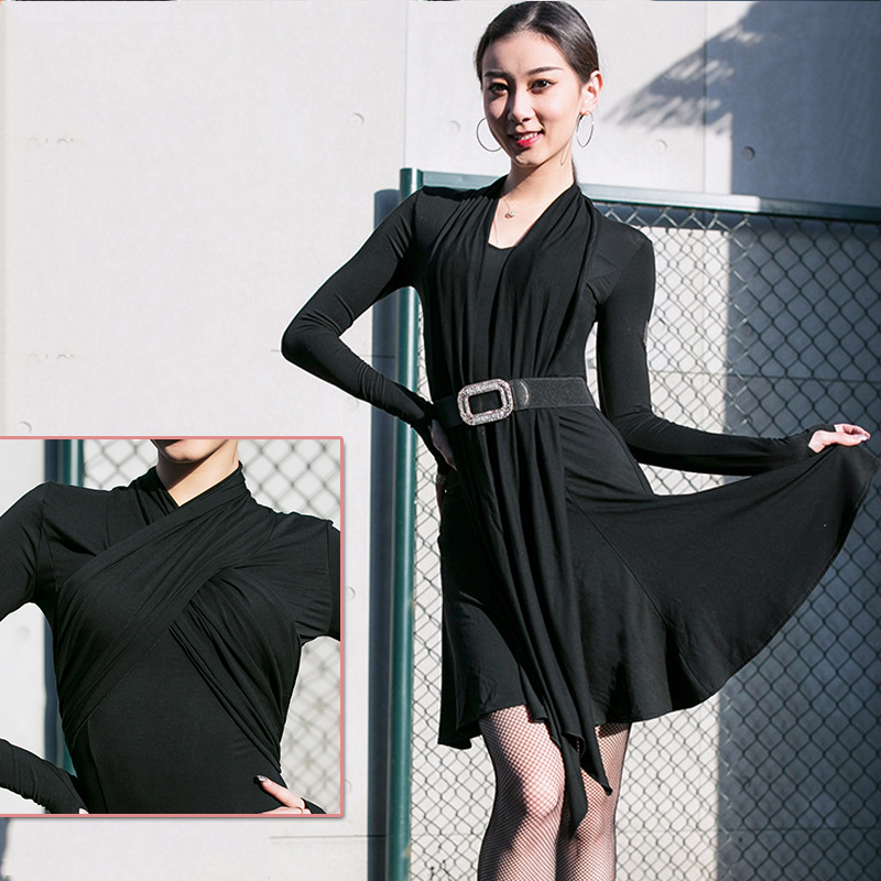Black Ribbon Dance Dress Latin Dance Dress Practice Clothes New Salsa Dress ChaCha Dance Dress Enening Party Dress Costume 3182
