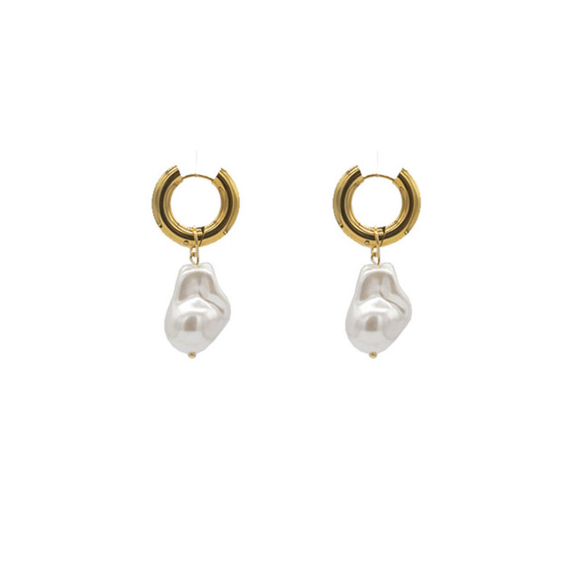 Baroque Pearl Earrings Gold Circle Earclip 6