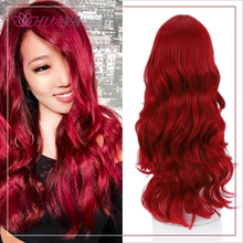 HUAYA Long Wavy Red Wig with Side Bangs Heat Resistant Synth