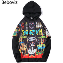 Bebovizi Hoodie Men Graffiti Cartoon Printed Funny Pullover Fashion Yellow Black Tops Hip Hop Streetwear Sweatshirts