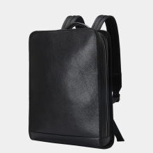 Simple Black Backpack Men Genuine leather Business Bags for Men High Quality Laptop Backpack Male Shool Bags for Teenager Boys