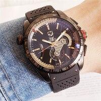 역학을 더 가져와 기능 남자 손목 시계 패션 캐주얼 달 단계 달력 스포츠 기계식 시계-에서기계식 시계부터 시계 의