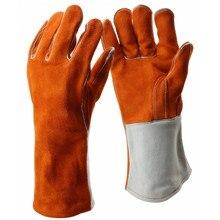Rindsleder Leder Schweißen Handschuhe Wärme Beständig Heavy Duty Arc Tig Mig Schweißer Handschuhe Schweißen Ausrüstung Sicherheit Schutz Handschuh