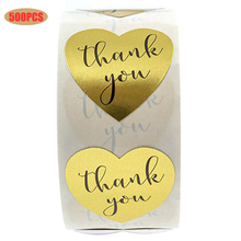 500PCS Heart-shaped Gold Thank You Sticker Bottle Label DIY Wedding Party Decoration Gift Stationery Boxes Envelopes Tag