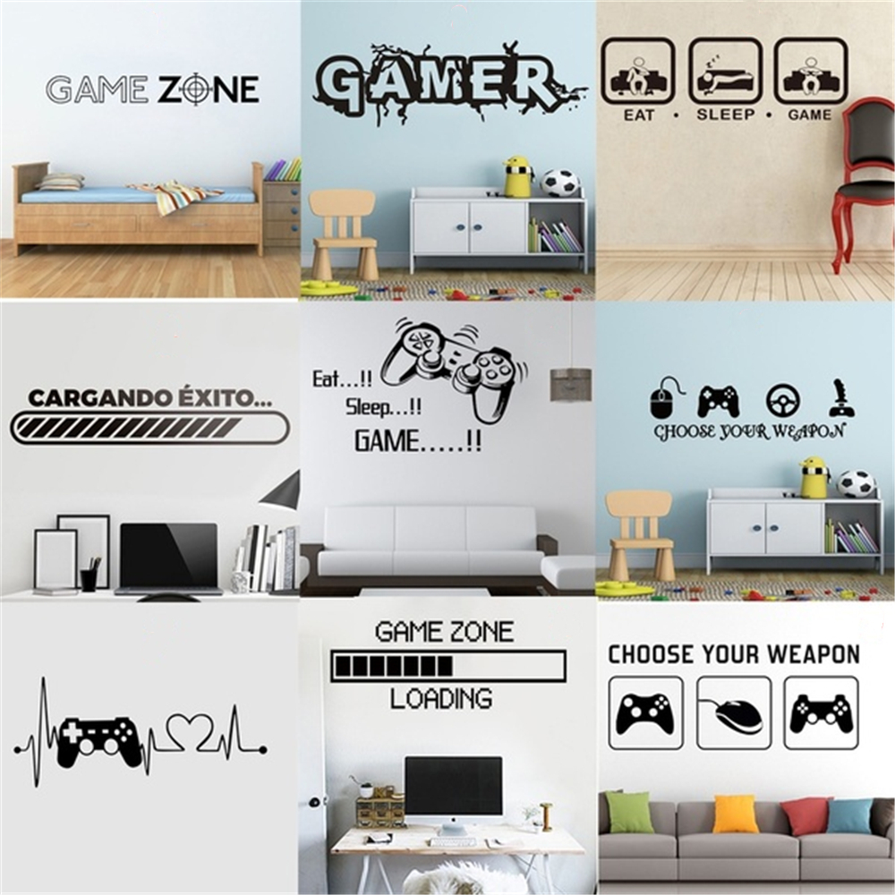 Sticker Gamer Decal Gaming Posters Gamer Vinyl Wall Decals Decor Mural Game Stickers For Home Bedroom Living Room Kidroom Walls