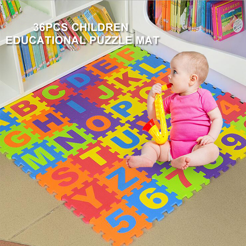 Baby Play Mat 36pcs/Set EVA Baby Foam Clawling Mats Puzzle Toys For Kids Floor Mat Number Letter Childrens Carpet 15.5*15.5cm