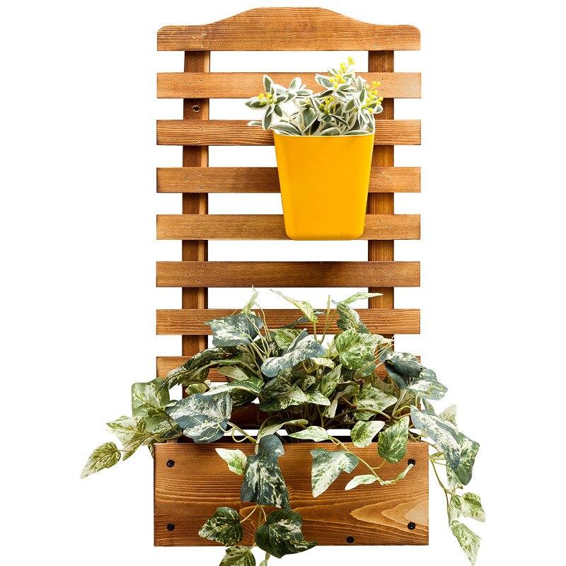 Mobilya'ten Bitki Rafları'de Ahşap Bitkiler standı açık bitki raf duvar asılı çiçek standı balkon dekorasyon etli saksı yaratıcı çiçek rafı title=
