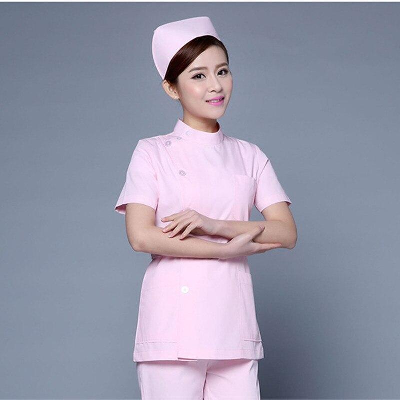Medical Scrub Clothes Set For Women Summer Short Sleeved Slim Fit Nurse Uniform Hospital Dental Scrubs  Outfit