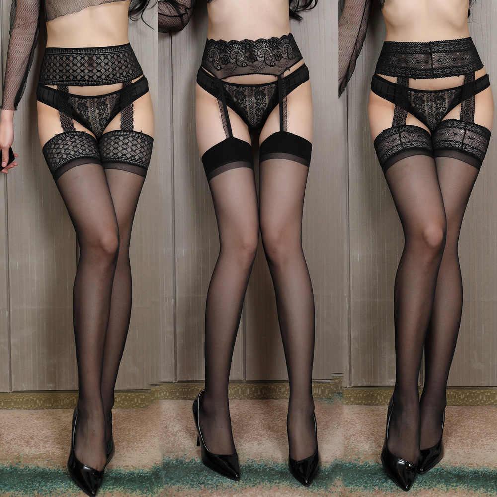 Hot Lace Kousen Sexy Lingerie Vrouwen Zwarte Sexy Dij Hoge Mooie Lange Sokken Sexi Riem Standaard Over De Knie Sokken 2020
