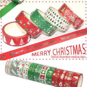 Image 3 - 12 sztuk/zestaw boże narodzenie taśmy Washi Snowflake renifer paski Kawaii taśmy maskujące naklejki papiernicze Scrapbooking szkolne