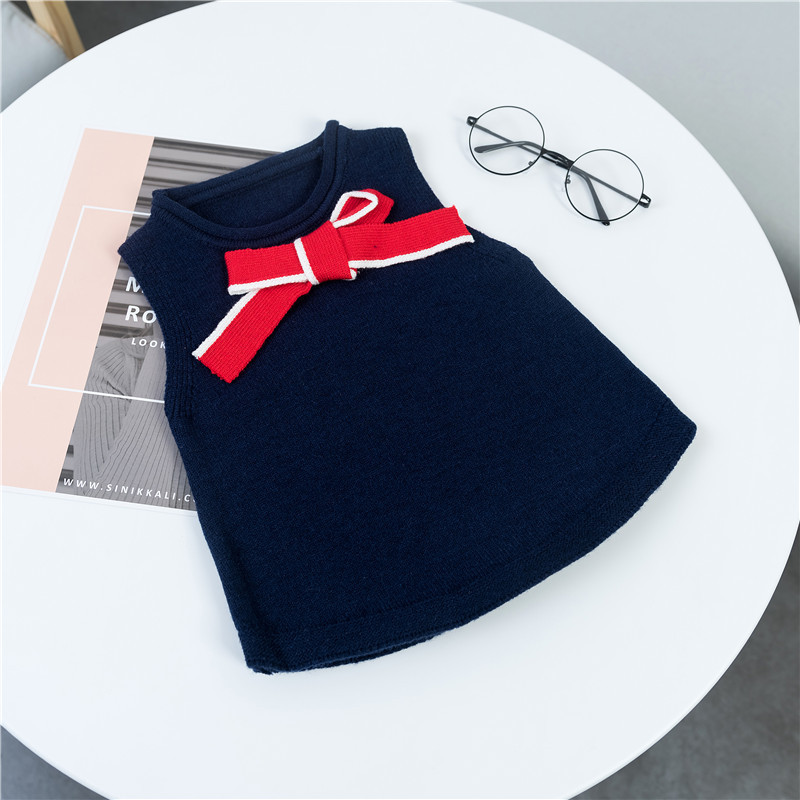 Childrenswear Child Waistcoat Small CHILDREN'S Korean-style Autumn And Winter New Style Girls Bow Knitted Vest CHILDREN'S Sweate