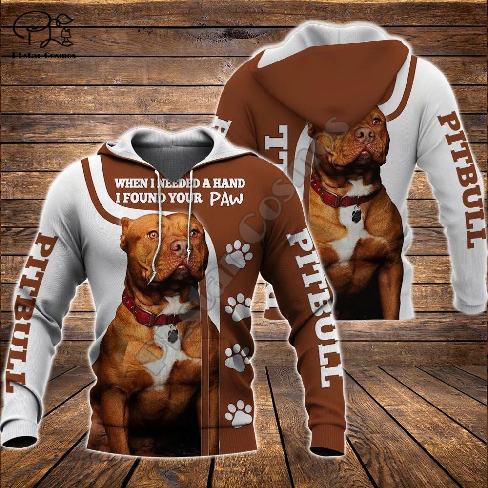 Men Unisex Pitbull Limited Edition 3d Dog Print Zipper Hoodie Long Sleeve Sweatshirts Jacket Pullover Tracksuit