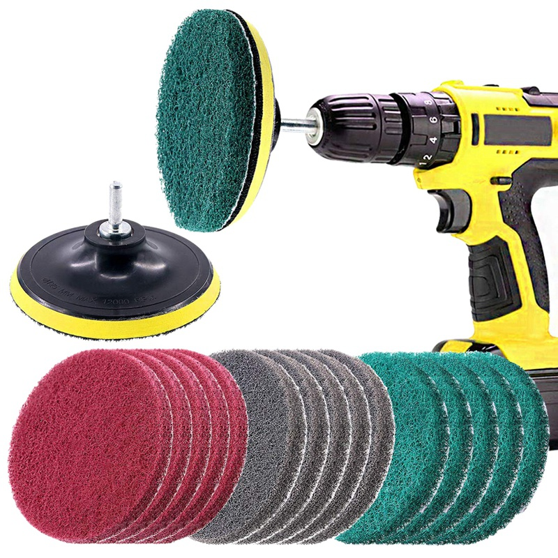 16Pcs 5Inch 3 Different Color Scrubbing Pads Drill Powered Brush Tile Scrubber Scouring Pads Cleaning Kit,Abrasive Buffing Pads