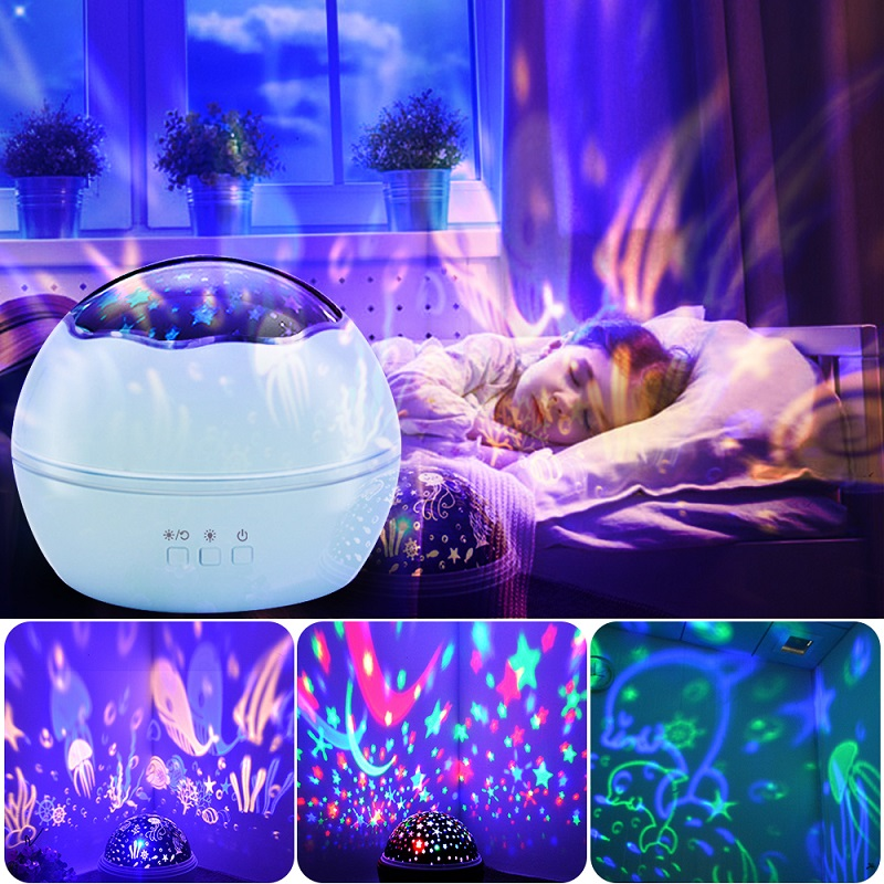Colorful Rotating Night Light Projector Spin Starry Sky Star Master Children Kids Baby Sleep Romantic LED USB Lamp Projection