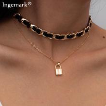 Punk Unique Lover Lock Pendant Choker Necklace Women Collar Statement Vintage Padlock Black Flannel Chain Aesthetic Neck Jewelry