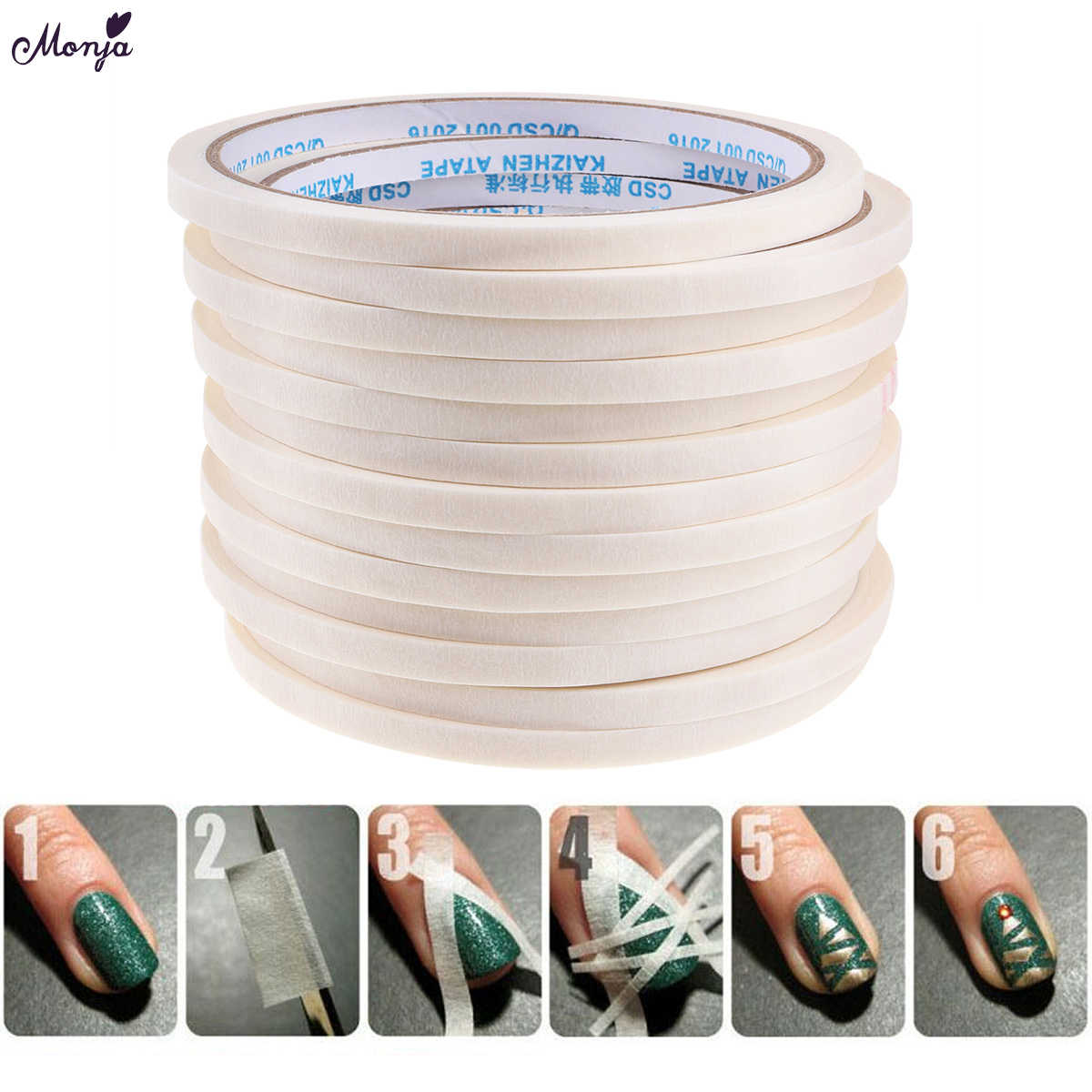 Monja 1Pcs 3/4/5mm Nail Art Stripe Adhesive Tape Rolls Decoration Guide Design Tips DIY White Striping Sticker Manicure Tools