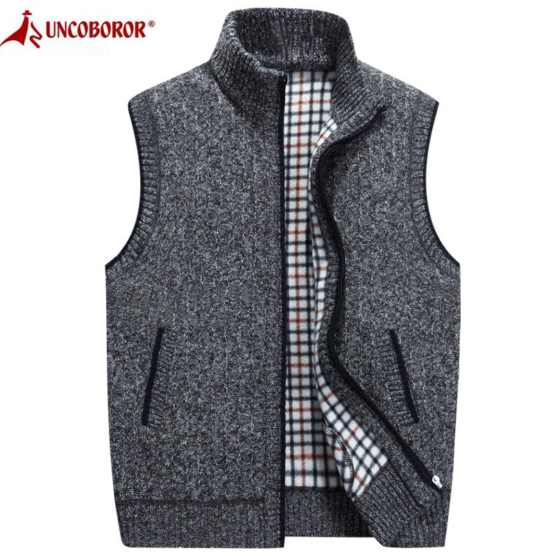 2019 Autumn Winter Men's Wool Sweater Vest Thick Warm Casual Sleeveless Jackets Sweatercoat Cashmere Male Knitted Fleece Vest