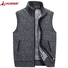 2019 Autumn Winter Men's Wool Sweater Vest Thick Warm Casual Sleeveless Jackets Sweatercoat Cashmere Male Knitted Fleece Vest(China)
