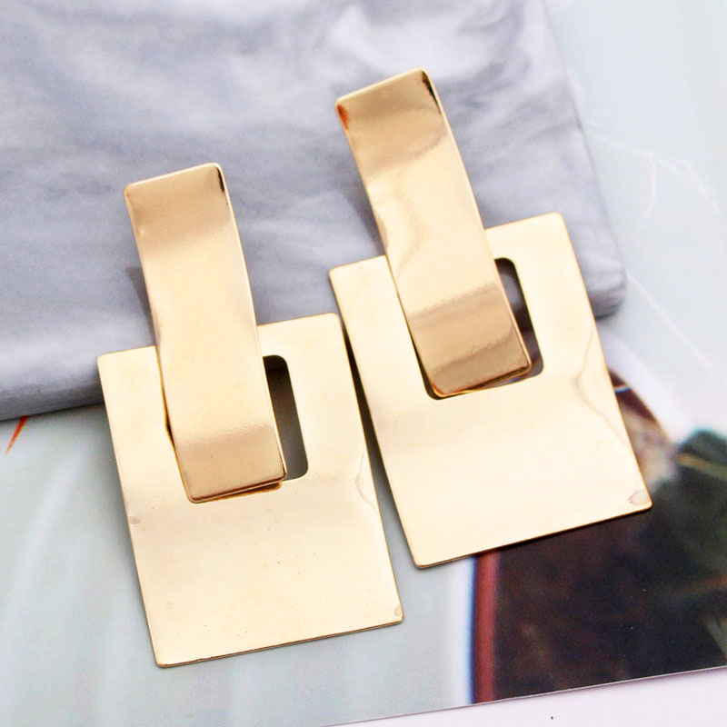 H582ff0dfc7ee40618ceaffbabb8d1a837 - Simple Metal Drop Dangle Earrings For Women Geometric Wedding Party Vintage Earring Female Bohemian Jewellery oorbellen
