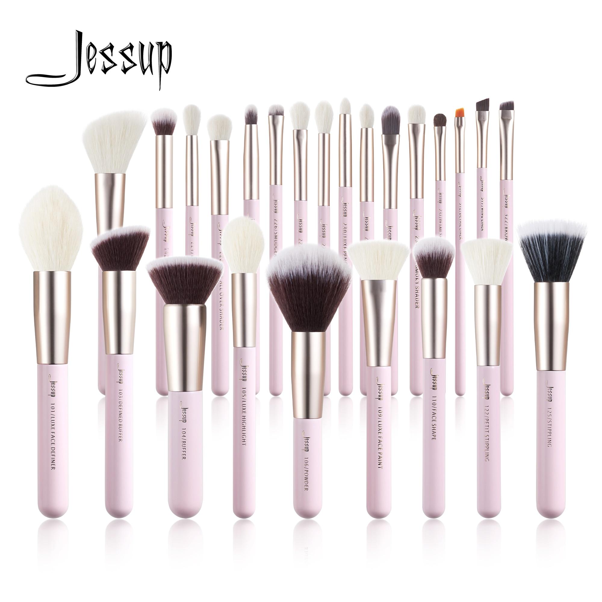 Jessup Juego de brochas de maquillaje, 15 25 uds, pelo Natural sintético, base en polvo, resaltador, sombra de ojos, brocha para maquillaje|rizador de pestañas| - AliExpress