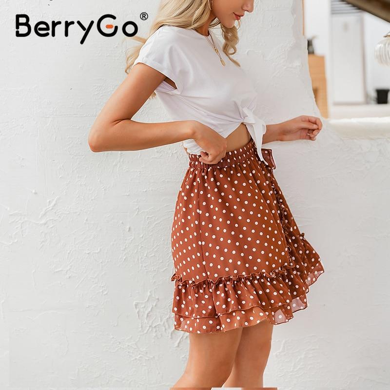 BerryGo Elegant polka dot print mini skirts womens A-line ruffled female skirt 2020 Spring summer holiday beach skirts ladies 6