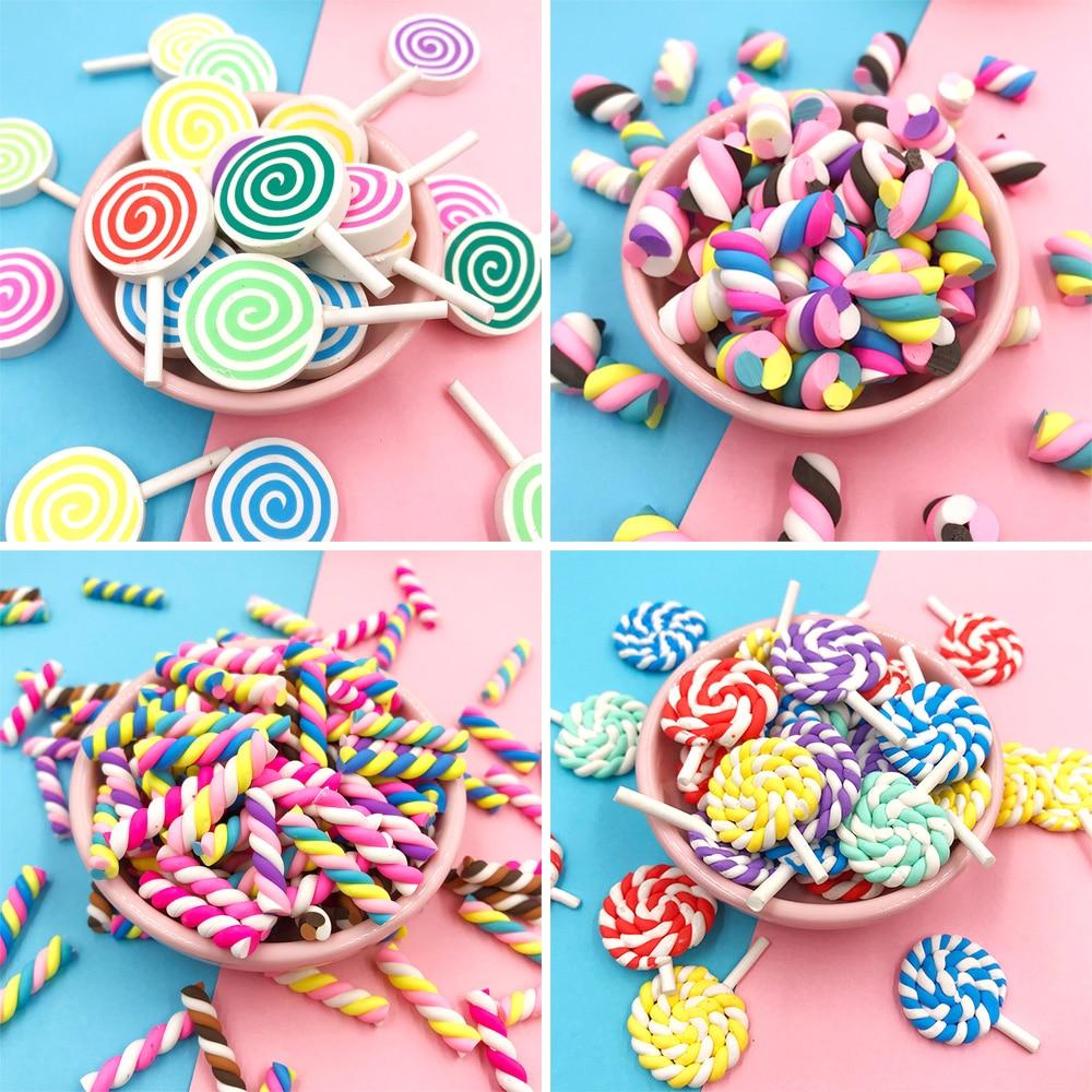 10x Polymer Clay Lollipop Flatback Cabochon Lolly Miniature Food Decor Candy