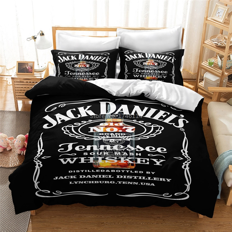 JACK Whiskey Famous Drinking Printing Bedding Set Duvet Cover Set Bed Linens Bedclothes Home Textile Twin Full Queen King Size