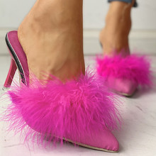 2020 Summer Shoes Woman Feather Thin High Heels Fur Slipper Peep Toe Mules Lady Pumps Slides Shoes Zapatilla Mujer Sandalia Pink