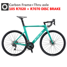 SAVA Road Bike Carbon Road Bike 700c Disc Brake Road Racing Bike with SHIMANO 105 R7000 22 Speeds Carbon Bicycle Racing bike cheap Carbon Fibre Male 21 Speed 150kg 11kg Keine Dämpfung Double Disc Brake 160-185cm 1 33 0 1 m3 Ordinary Pedal Hard Frame (Non-rear Damper)
