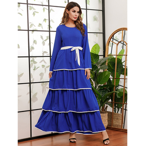 Fashion Abaya Women Long Sleeve Layered Dress Dubai Kaftan Turkish Caftan Muslim Jilbab Islamic Clothing Arab Robe Abayas Gown