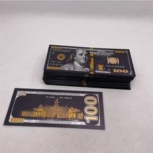 100 шт., фольга черного золота в античном стиле, 100 долларов США, памятные банкноты, Декор