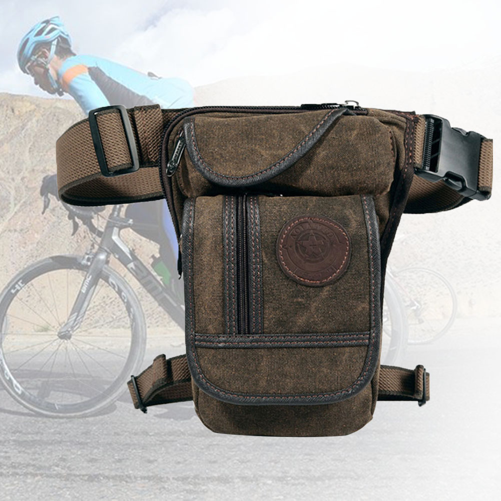 Cycling Motorcycle Travel Military Multifunction Retro Portable Canvas Drop Leg Bag Multi Pocket Waist Outdoors Adjustable
