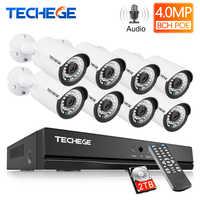 Techege H.265 8-kanałowy System POE 4.0MP Audio kamera IP metalowa zewnętrzna wodoodporna kamera sieciowa System bezpieczeństwa CCTV zestaw do nadzorowania