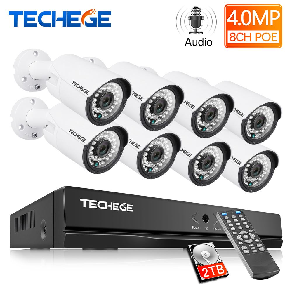Techege H.265 8CH POE System 4.0MP Audio IP Camera Metal Outdoor Waterproof Network Camera CCTV Security System Surveillance Kit