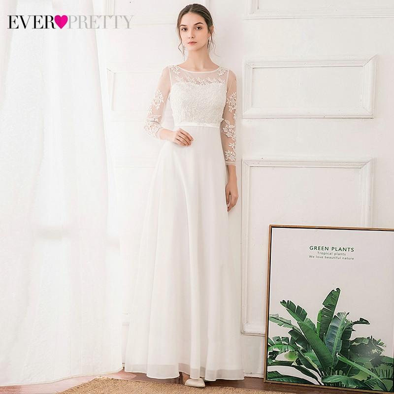 Illusion White Wedding Dresses Ever Pretty 3/4 Sleeve A-Line O-Neck Elegant Appliques Wedding Gowns For Bride Vestido Casamento