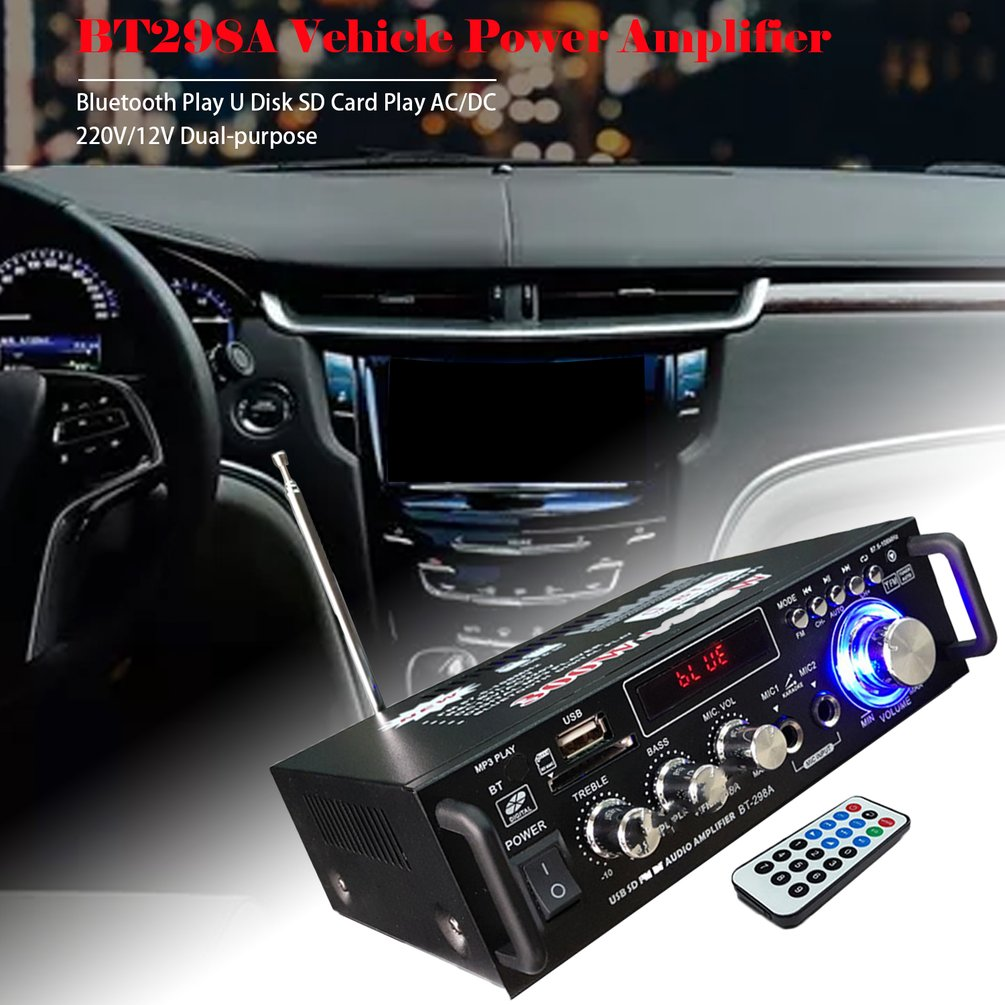 600W 220V/12V Hifi Stereo Fm 2Ch Amp Car Home Usb Sd Mp3 Mini Usb Card Ac And Dc Small Power Amplifier
