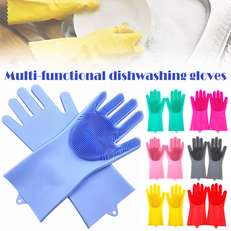 Magic Dishwashing Gloves Silicone Scrubber Non slip Dishes Washing Kitchen Glove for Household Cleaning SEP99|Household Gloves| |  - title=