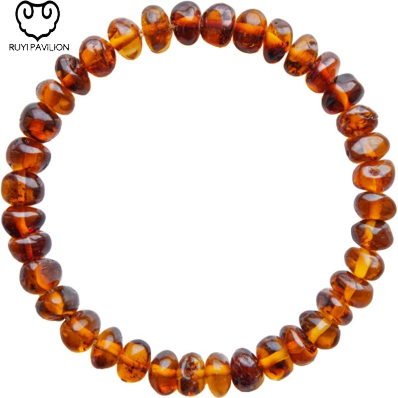 RUYI PAVILION Natural Baltic Amber Bracelet Bangles For Women Jewelry Female Baroque Cognac Color Crimson Amber 17CM-19CM