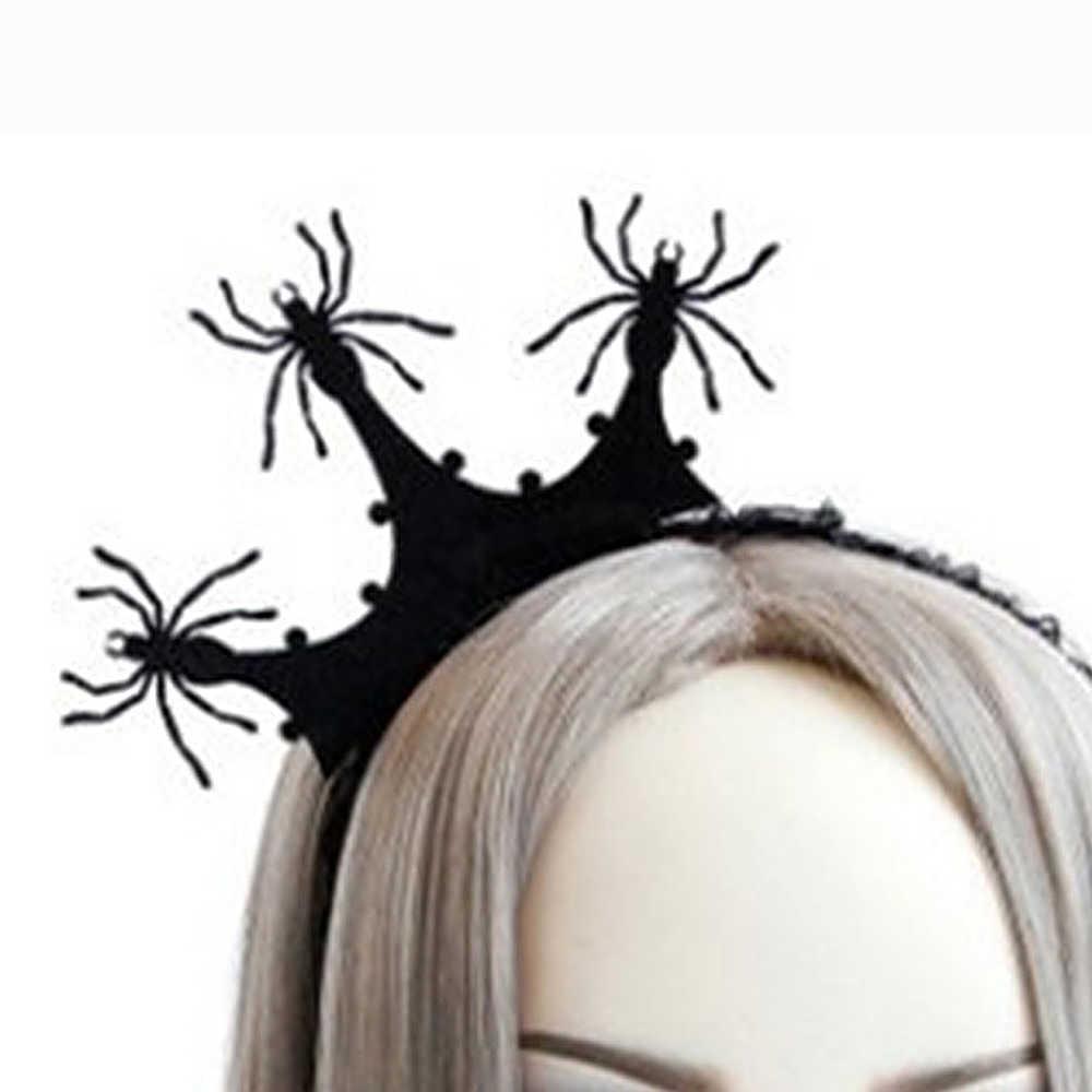 1PC kobiety Halloween z pałąkiem na głowę Spider Web kapelusz z kwiatem korona obręcz do włosów ozdoby imprezowe Cosplay koronki welon Topper nowe akcesoria do włosów