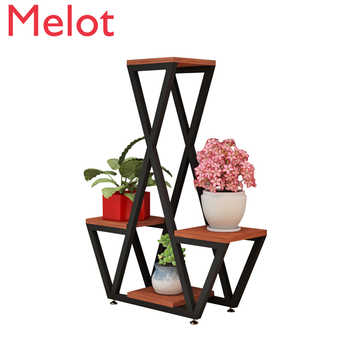 Simple Modern Multi-layer Wrought Iron Flower Stand Floor-standing Living Room European Creative Indoor Plant Racks - DISCOUNT ITEM  0 OFF All Category