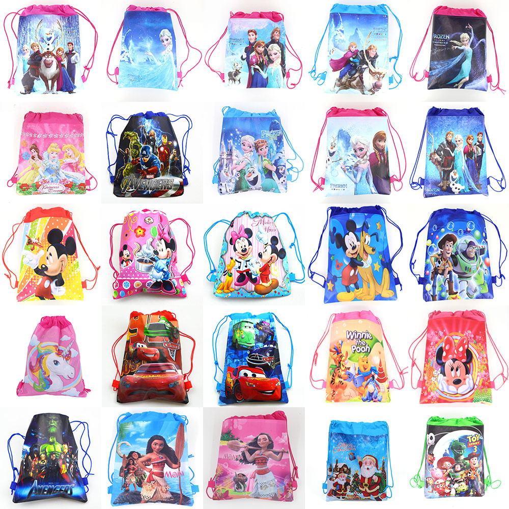 12PCS/LOT Mickey Unicorn Party Bag Fabric Backpack Elsa Princess Child Travel School Bag Decoration Drawstring Gift Bag