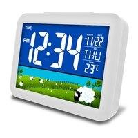 جديد التحكم الصوتي انذار مؤشر رقمي من ليد ساعة USB شحن LCD مكتب عرض ميزان الحرارة التقويم ساعة تنبيه ليلة ضوء ديكور المنزل