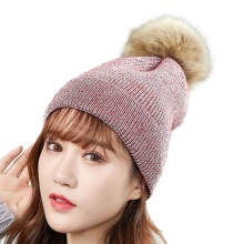 Winter High Quality Fur Pom Poms Female Hat For Women Girl Beanies Cap Womens Knitted Thick skullies