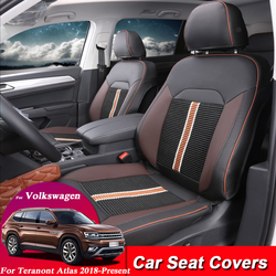 Car Seat Covers Set Leather For Volkswagen Teramont Atlas 2018-Present Car Covers Styling Seat Protector Cushions Accessories